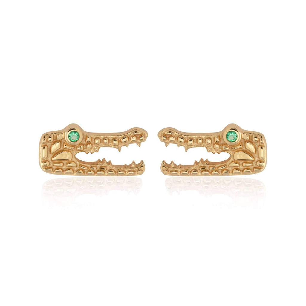 Crocodile Stud Earrings with Green Eyes