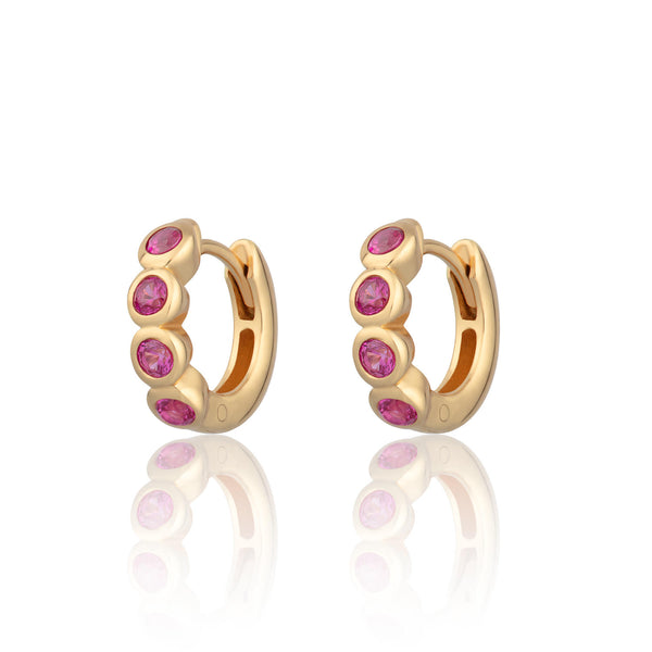 Bezel Huggie Hoop Earrings with Ruby Pink Stones