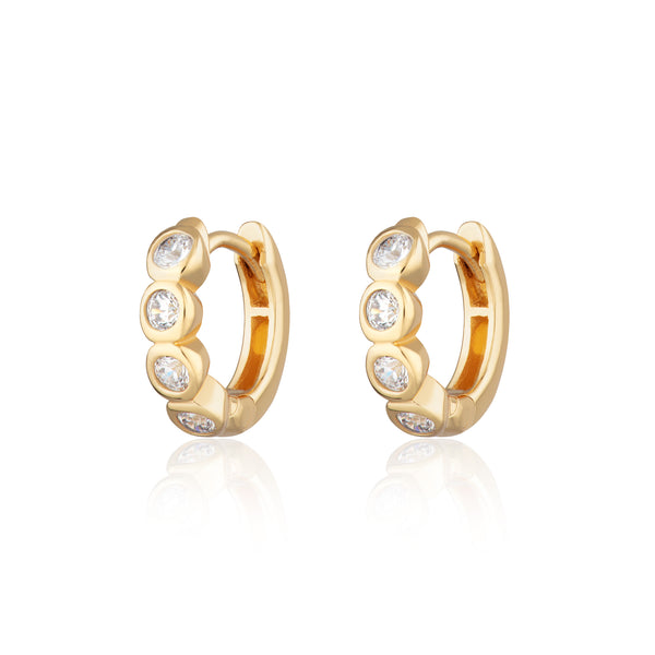 Bezel Huggie Hoop Earrings with Clear Stones