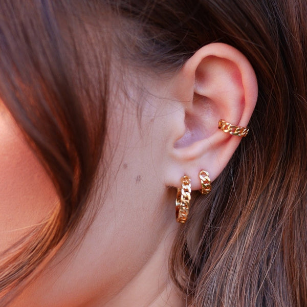 Chain Reaction Huggie Hoop Earrings