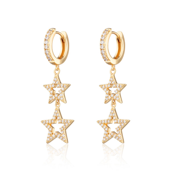 Statement Double Star Hoop Earrings