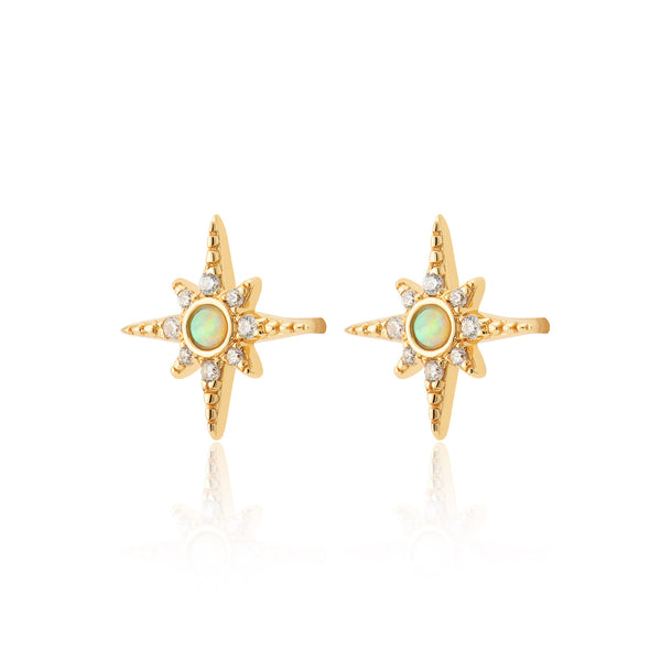 Green Opal Starburst Stud Earrings