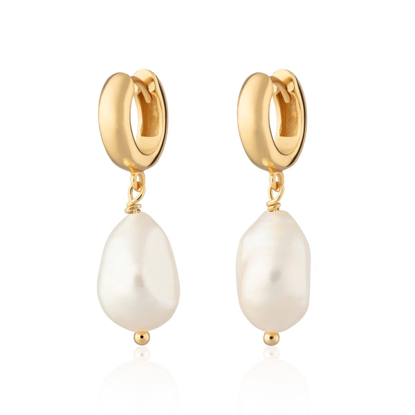Baroque Pearl Huggie Earrings