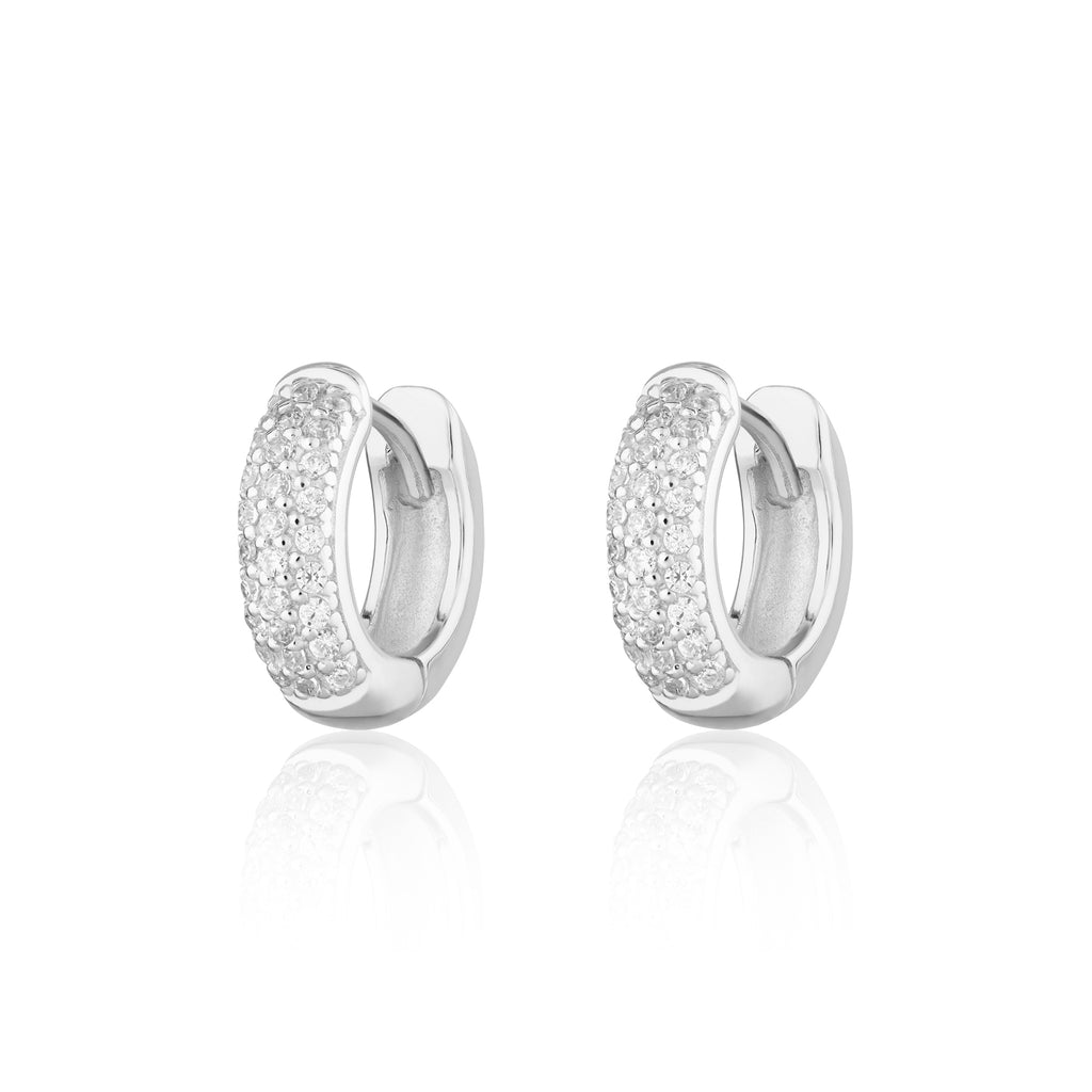 Dazzle Huggie Hoop Earrings with Clear Stones