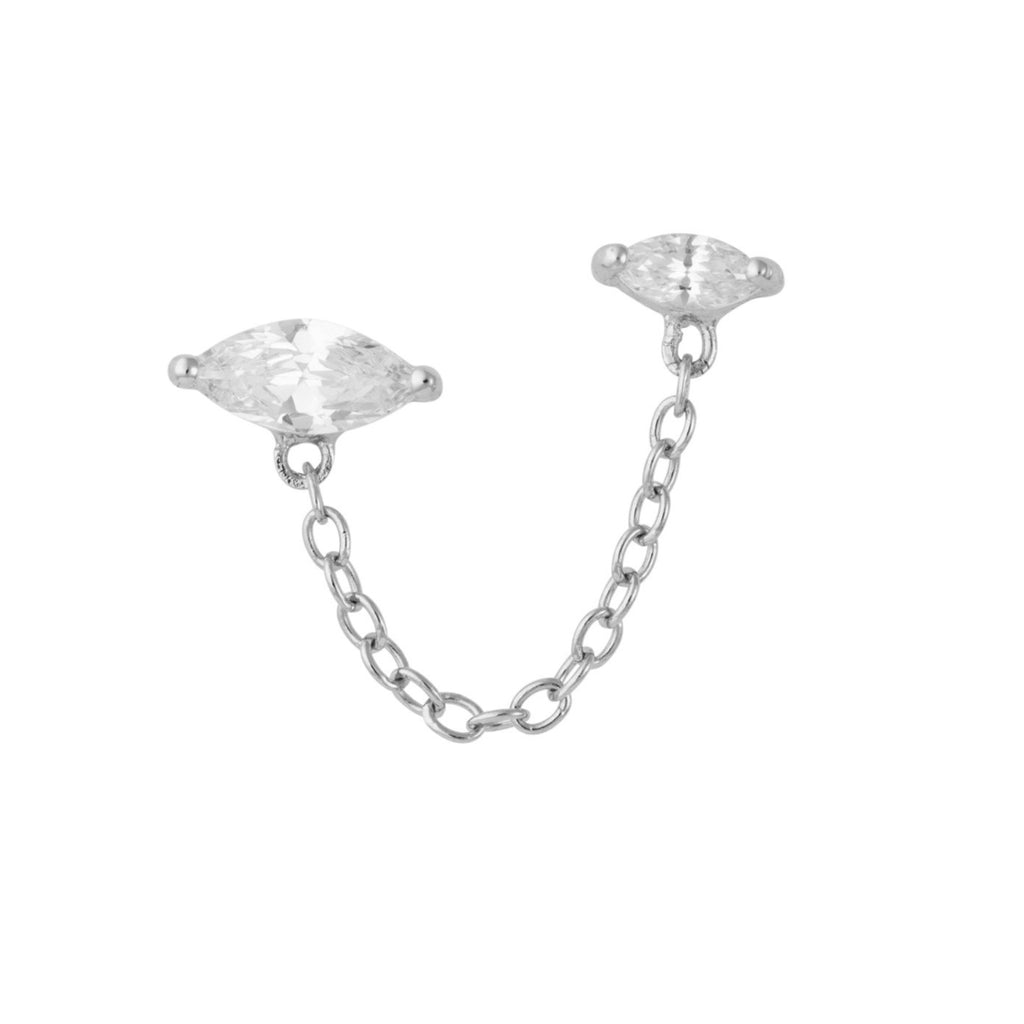 Crystal Droplet Double Stud Earring with Chain Connector, Single Earring