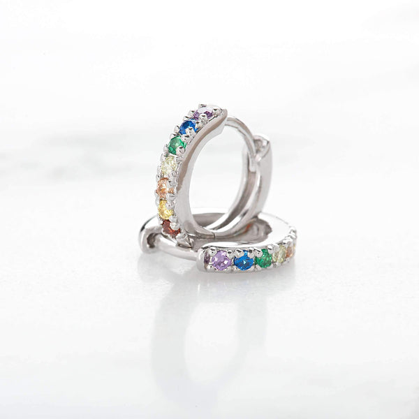 Huggie Hoop Earrings with Rainbow Stones - Scream Pretty