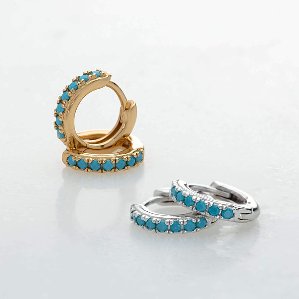 Huggie Hoop Earrings With Turquoise Stones - Scream Pretty
