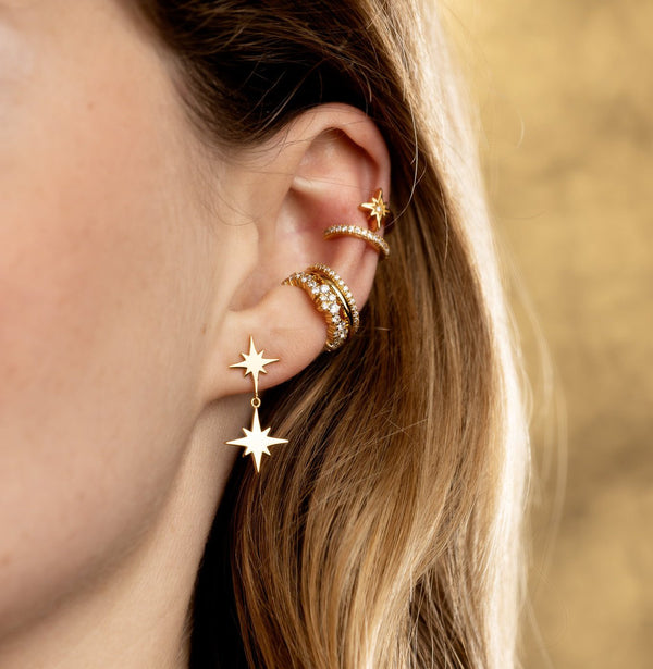 Double Drop Star Stud Earrings