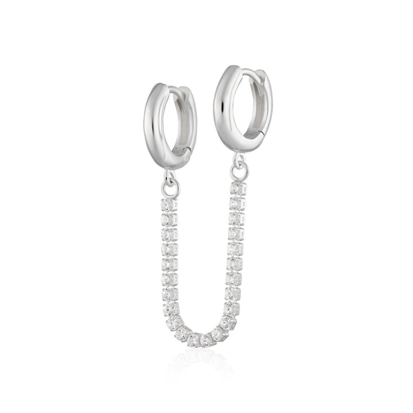 Sparkle Linked Huggie Hoop Earring (Single Earring)
