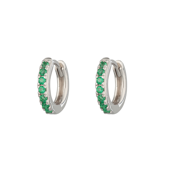 Huggie Earrings with Green Stones