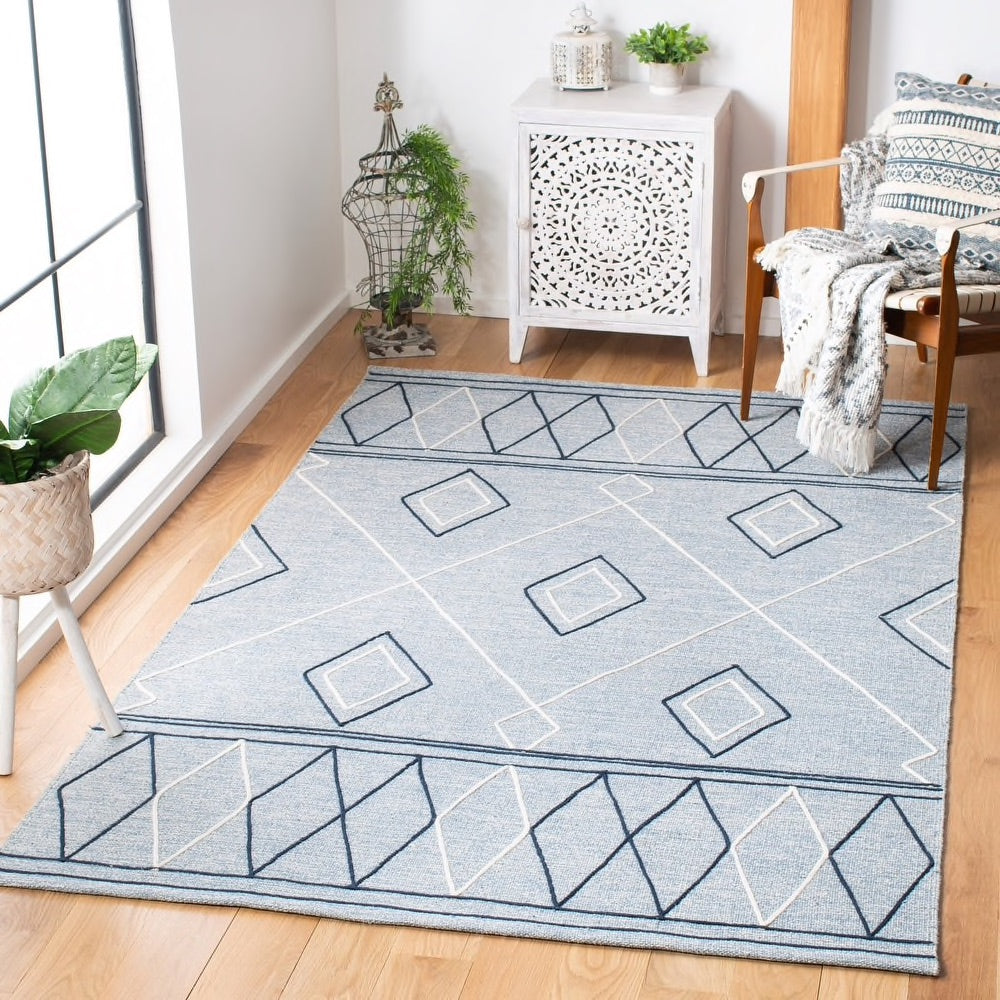 Kilim Modern Cotton Rug In Blue