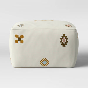 Tribal Embroidered Pouf Cream