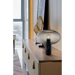 Smoke Oval Table Lamp