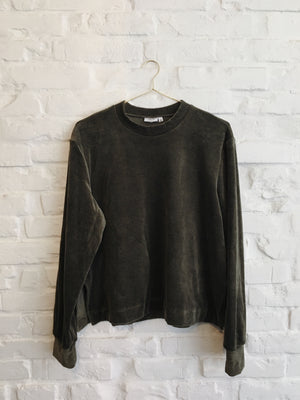Olive green velour sweatshirt