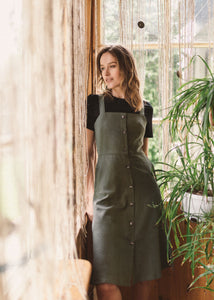 LUCA dress in olive green linen