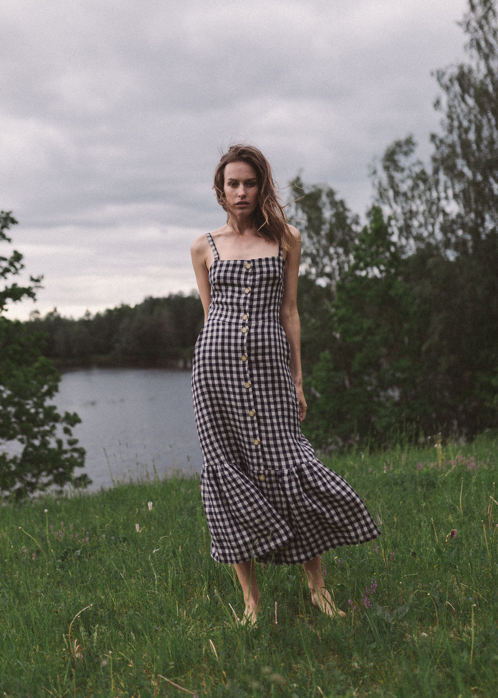LULU dress in check linen