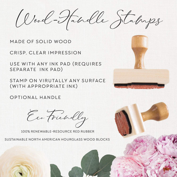Wedding Monogram Stamp, Custom Rubber Stamp #044 by Starboard Press - Starboard Press
