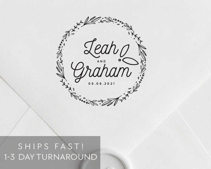 Wedding Monogram Stamp, Custom Rubber Stamp #045 by Starboard Press - Starboard Press