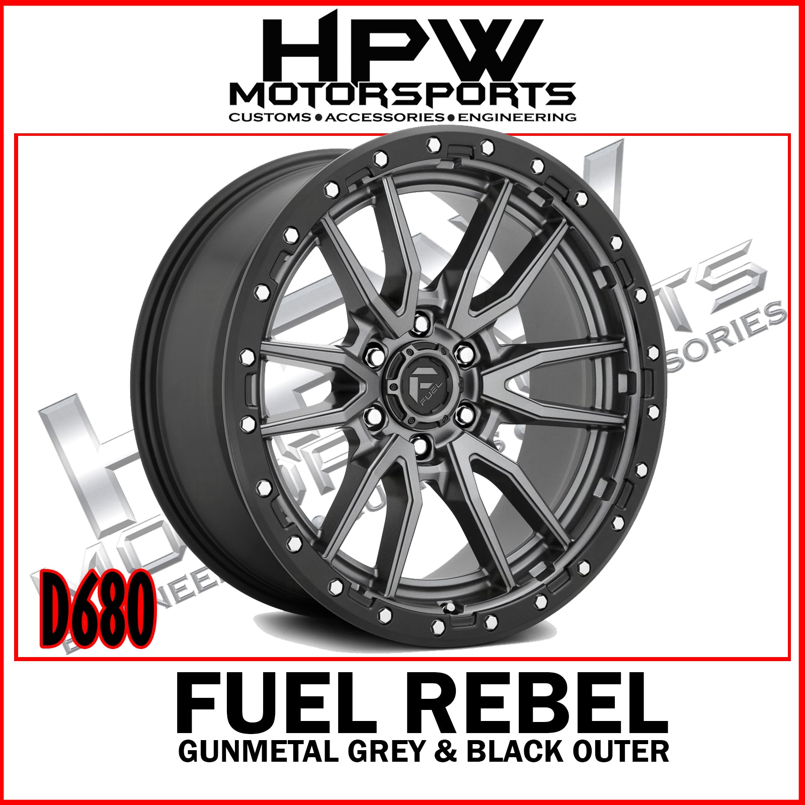 D680 REBEL - Gunmetal center & black outer - Set of 4