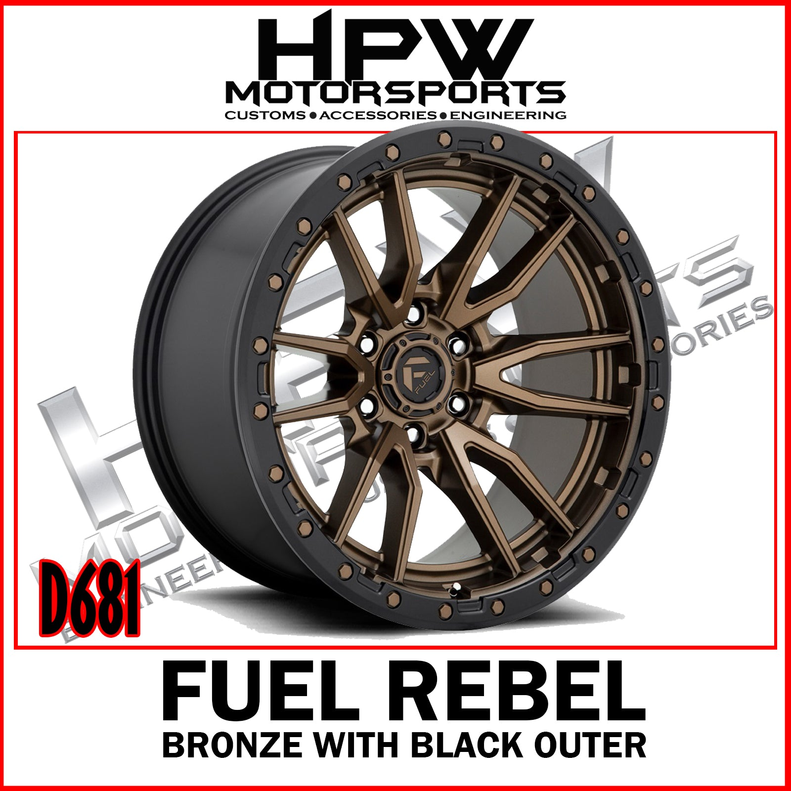 D681 REBEL - Bronze center & black outer - Set of 4