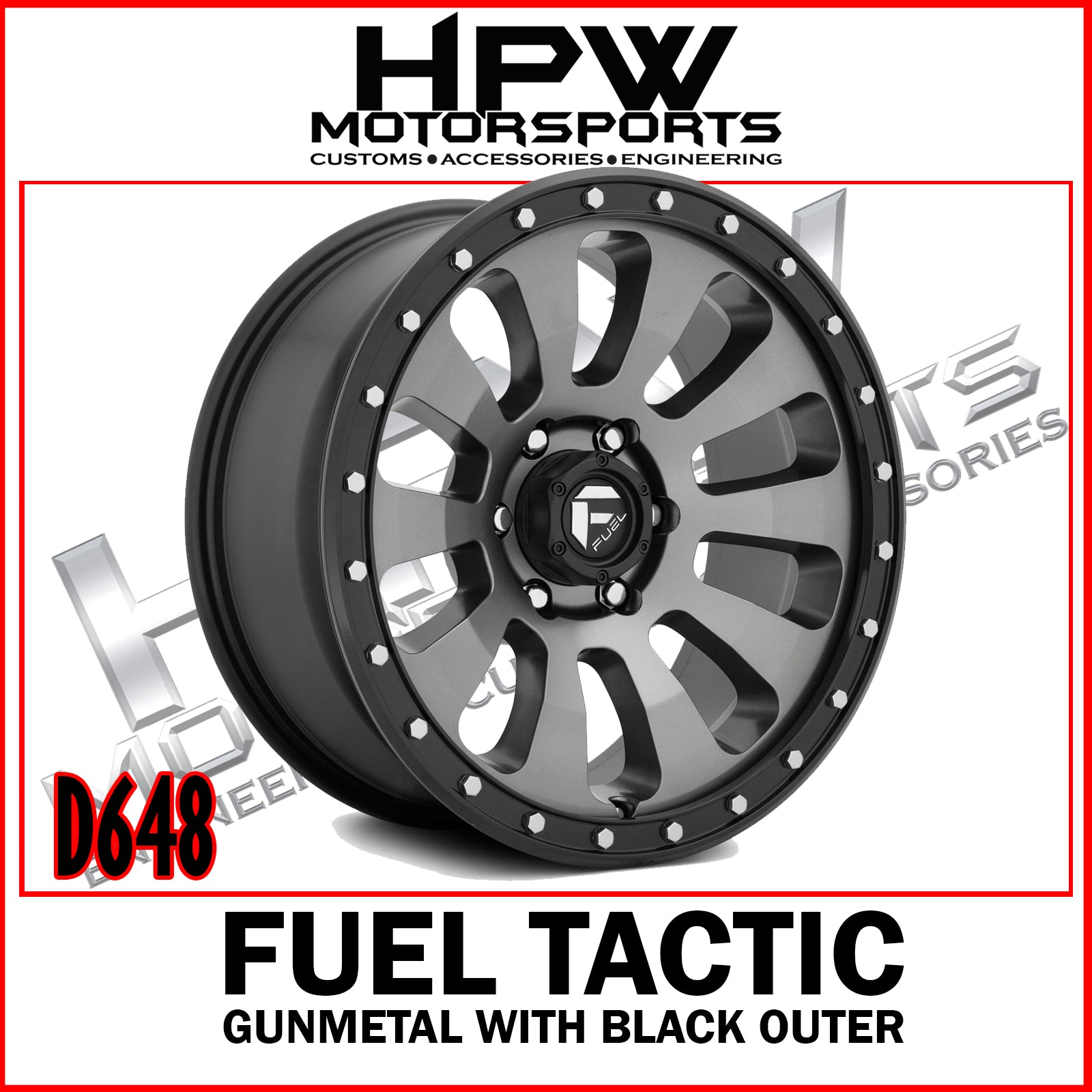 D648 FUEL TACTIC - Gunmetal center & black outer - Set of 4
