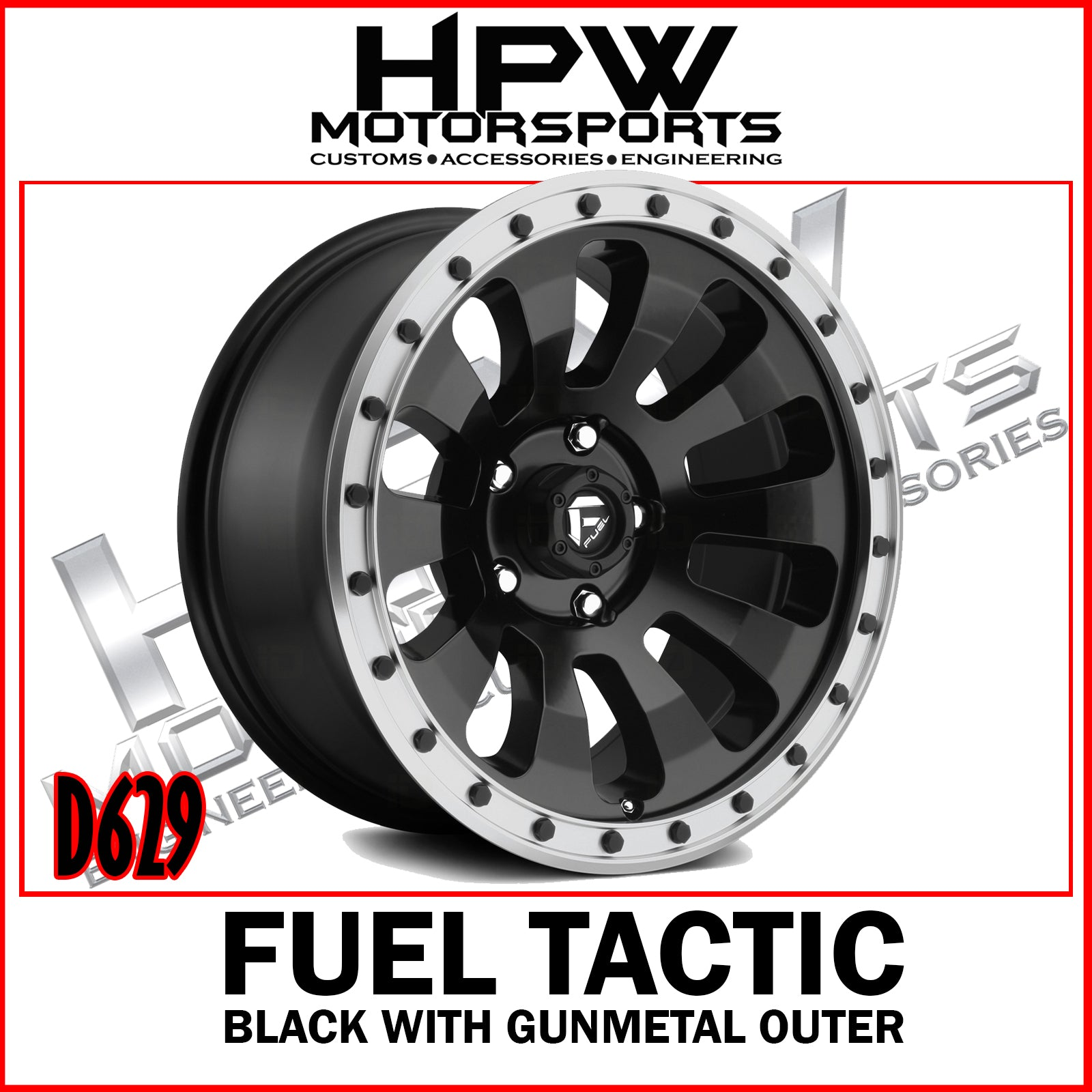 D629 FUEL TACTIC - BLACK CENTER / GUNMETAL OUTER - Set of 4