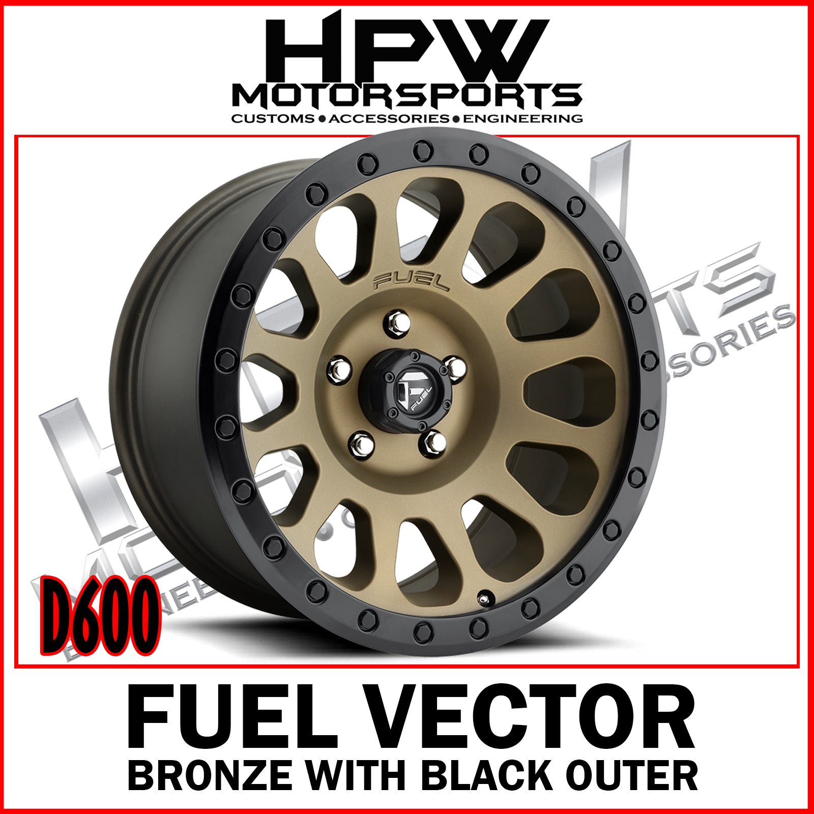 (20X10 -18) D600 FUEL VECTOR - BRONZE & BLACK - Set of 4