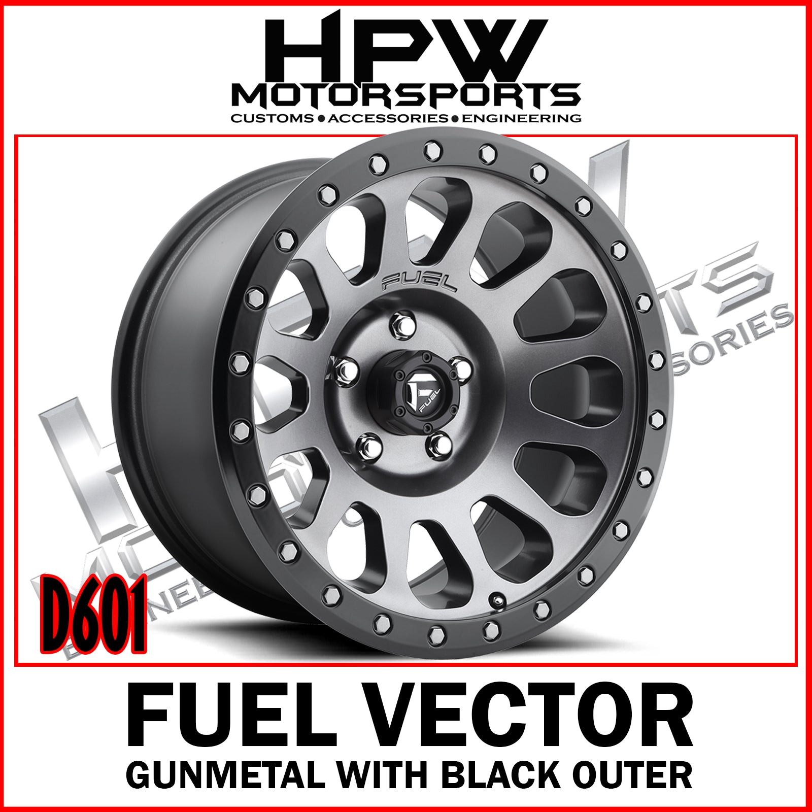 D601 FUEL VECTOR - GUNMETAL & MATTE BLACK - Set of 4