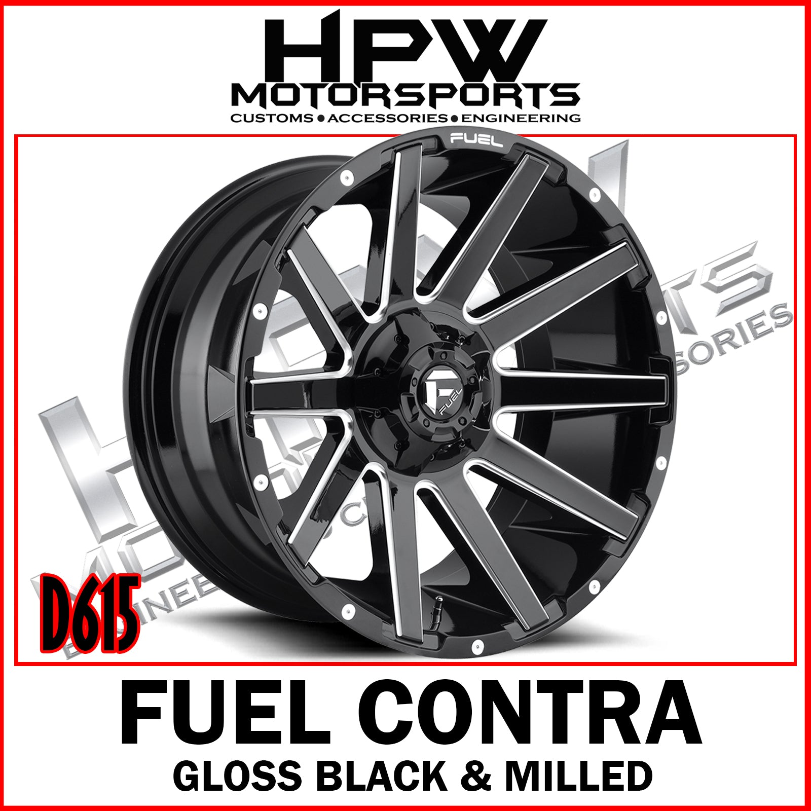 (20x10 -19) D615 FUEL CONTRA - GLOSS BLACK & MILLED - Set of 4
