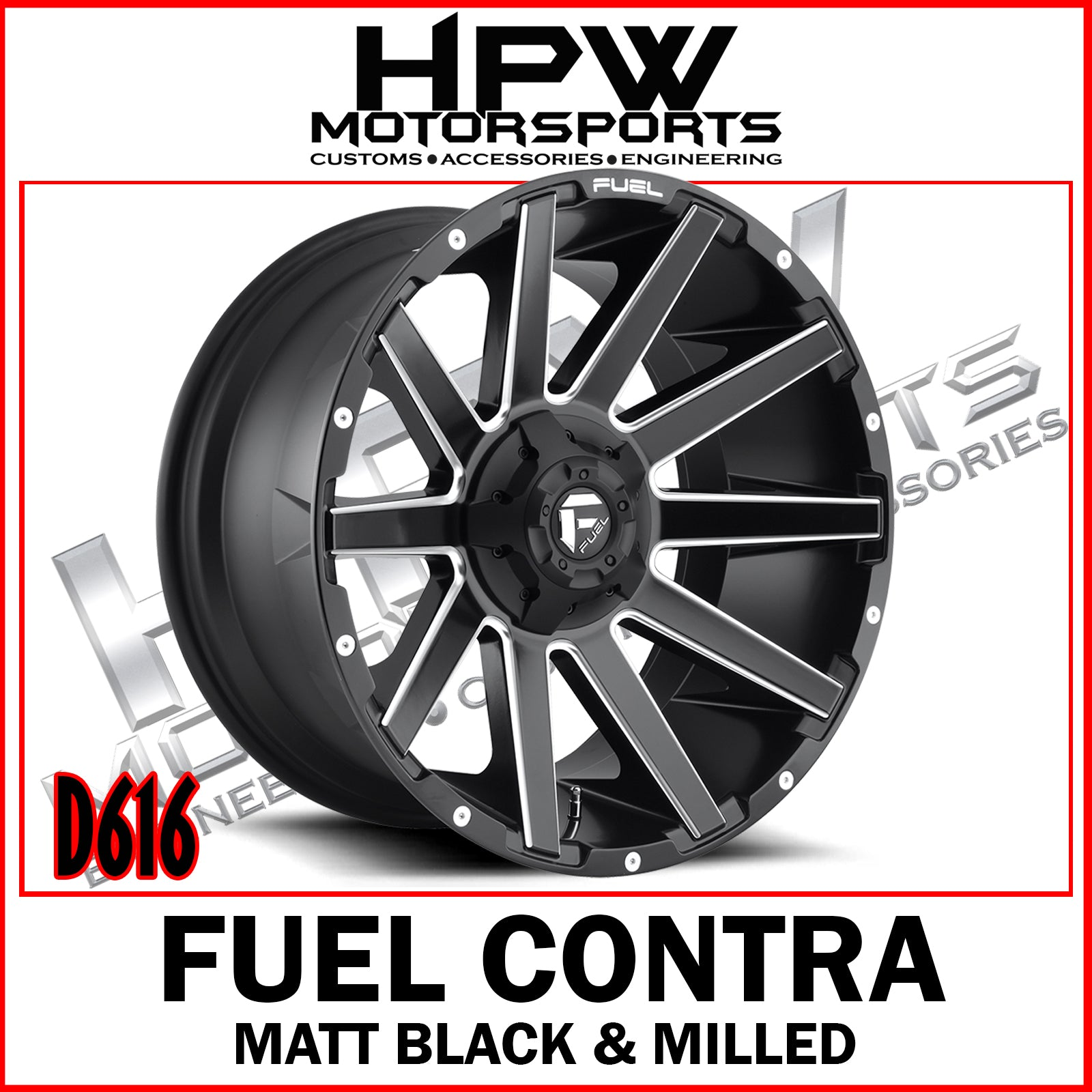 (20x10 -19) D616 FUEL CONTRA - MATT BLACK & MILLED - Set of 4