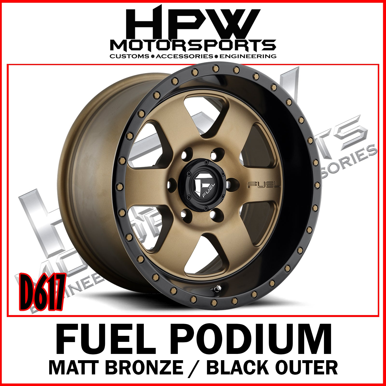 D617 FUEL PODIUM - MATT BRONZE / BLACK OUTER - Set of 4