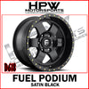 D618 FUEL PODIUM - SATIN BLACK - Set of 4