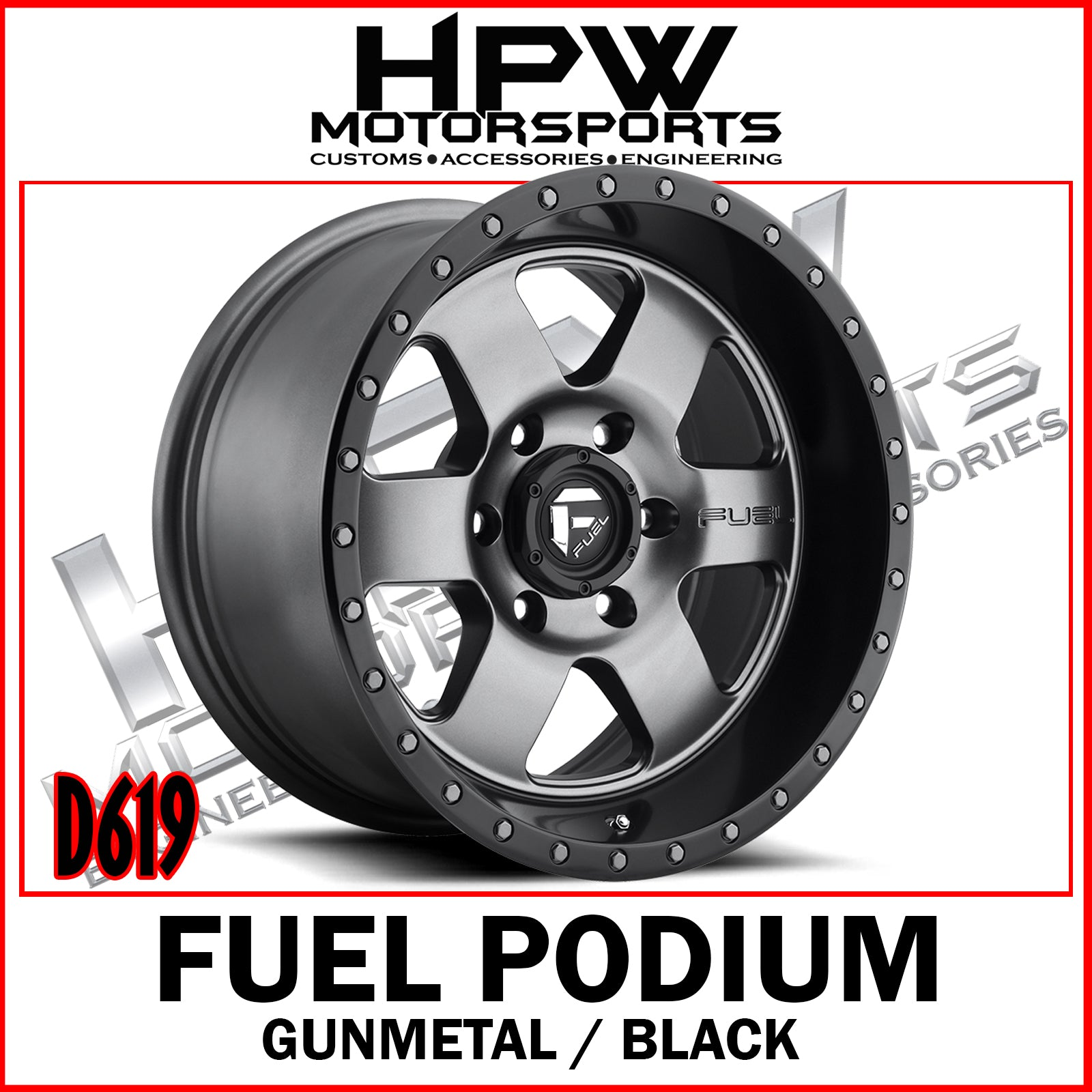 D619 FUEL PODIUM - GUNMETAL & BLACK - Set of 4