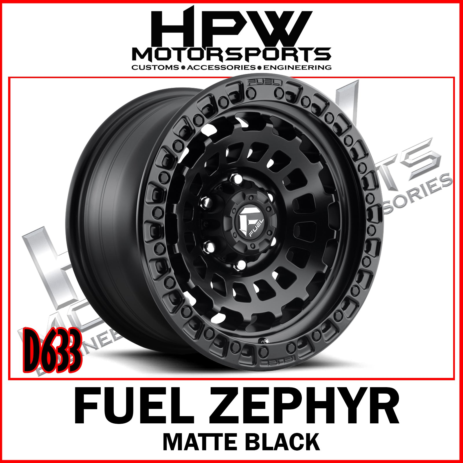 D633 FUEL ZEPHYR - MATTE BLACK - Set of 4