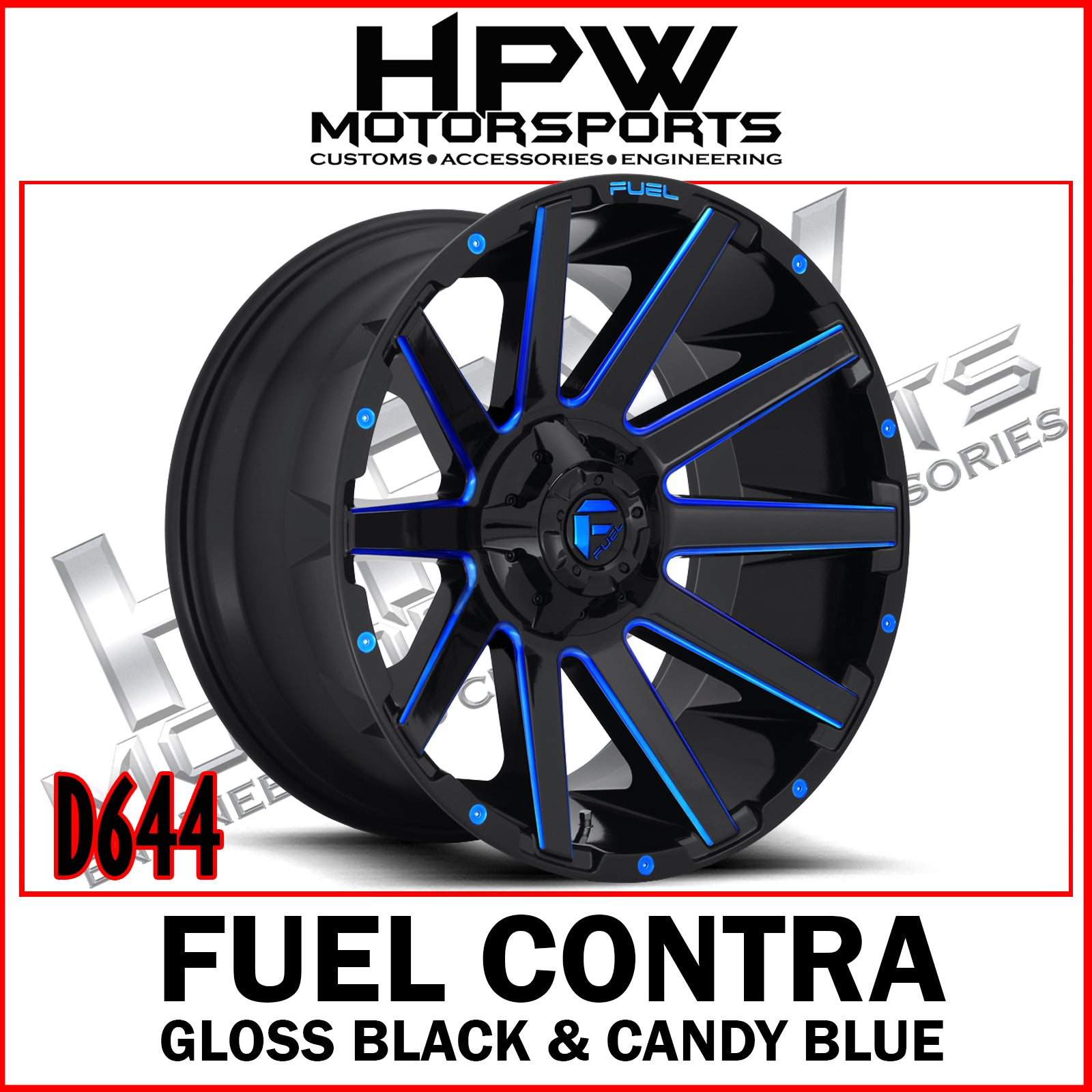 D644 FUEL CONTRA - GLOSS BLACK & CANDY BLUE - Set of 4