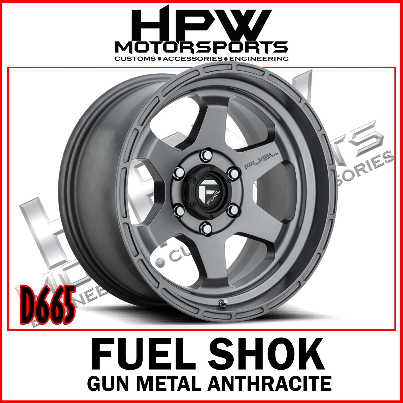 Copy of (17x10 -18) D665 FUEL SHOK - GUN METAL ANTHRACITE - Set of 4