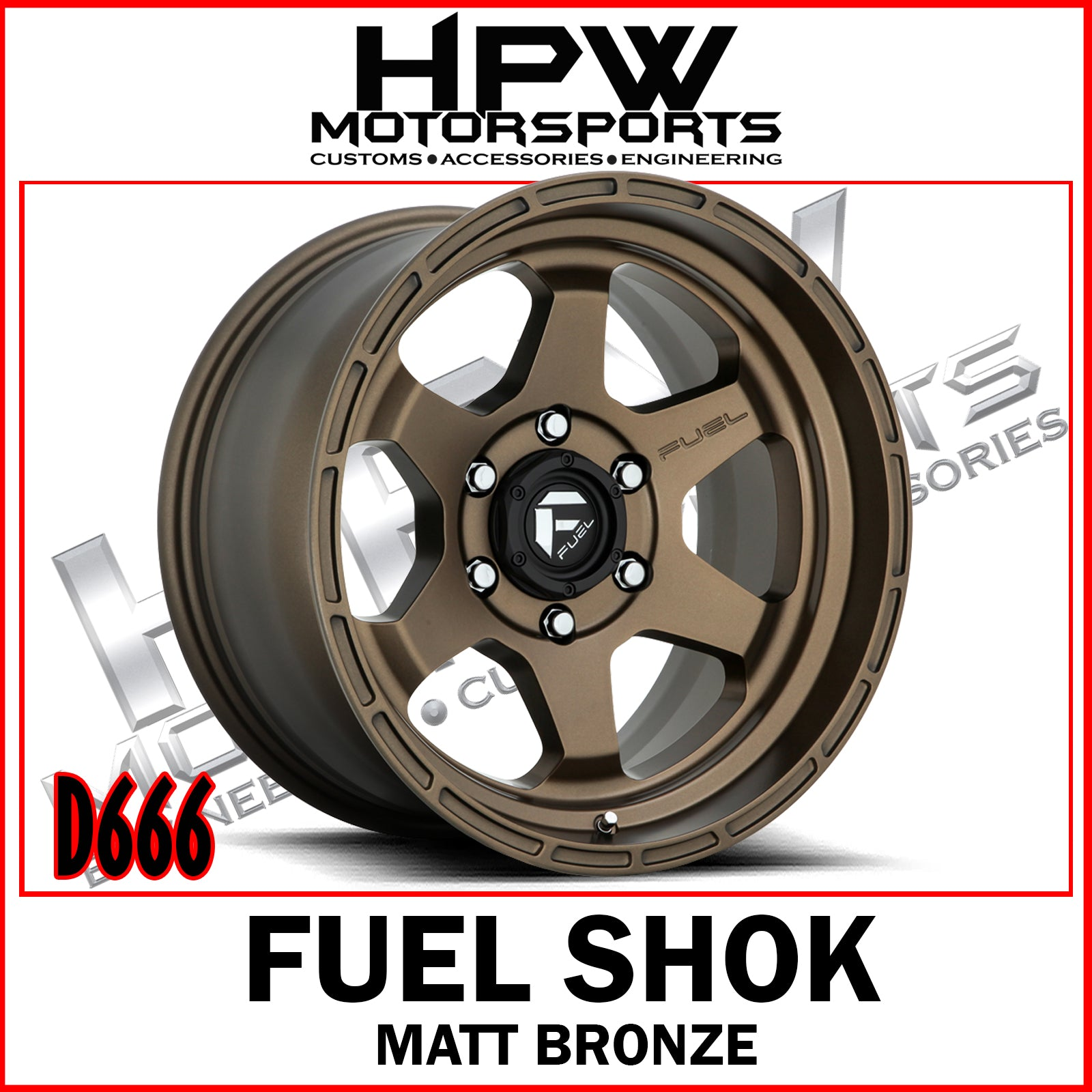 (17x10 -18) D666 FUEL SHOK - MATT BRONZE - Set of 4