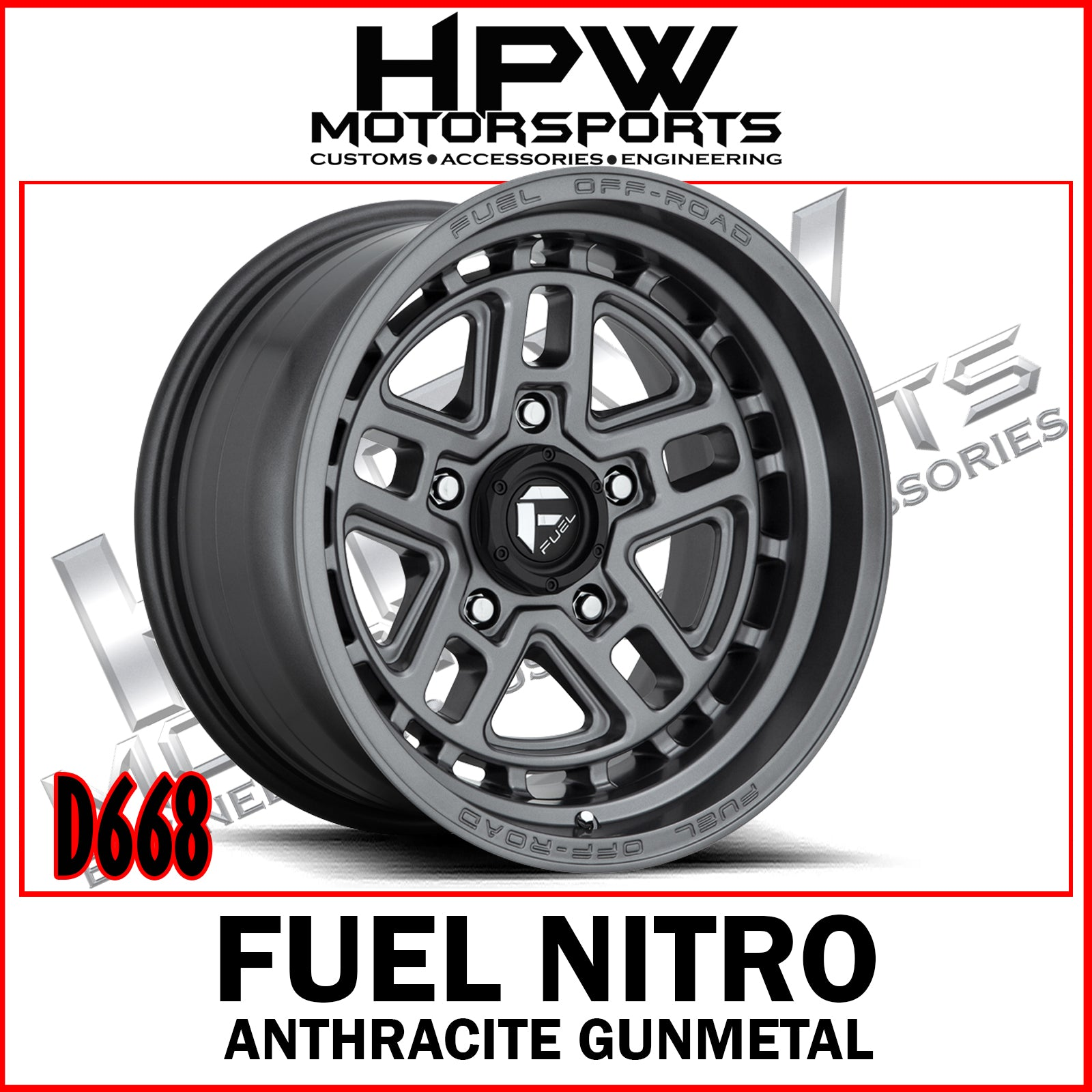 D668 FUEL NITRO - ANTHRACITE GUNMETAL- Set of 4
