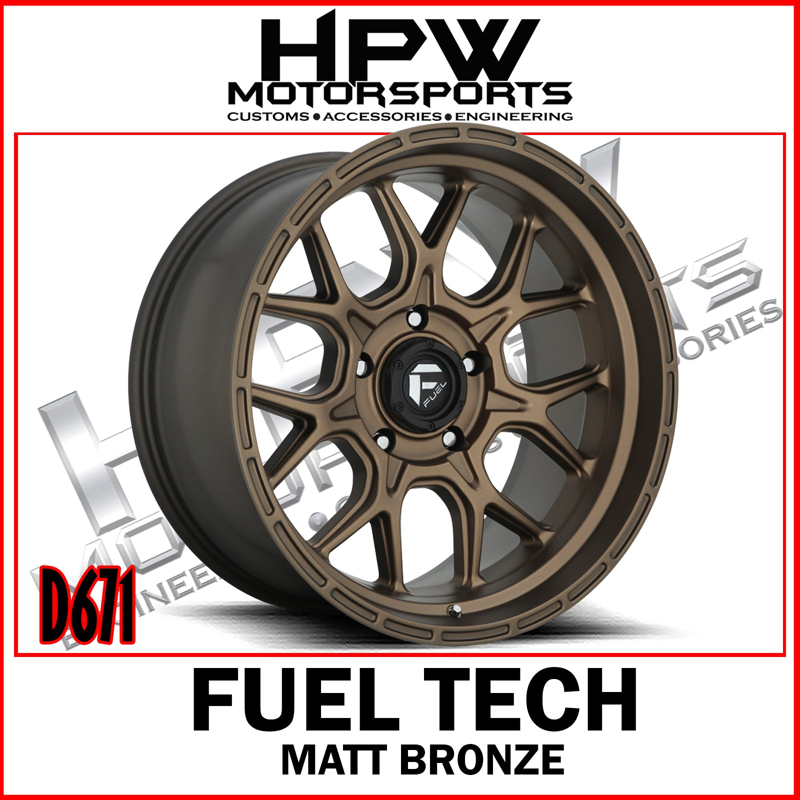 (20x10 -18) D671 FUEL TECH MATT BRONZE - Set of 4
