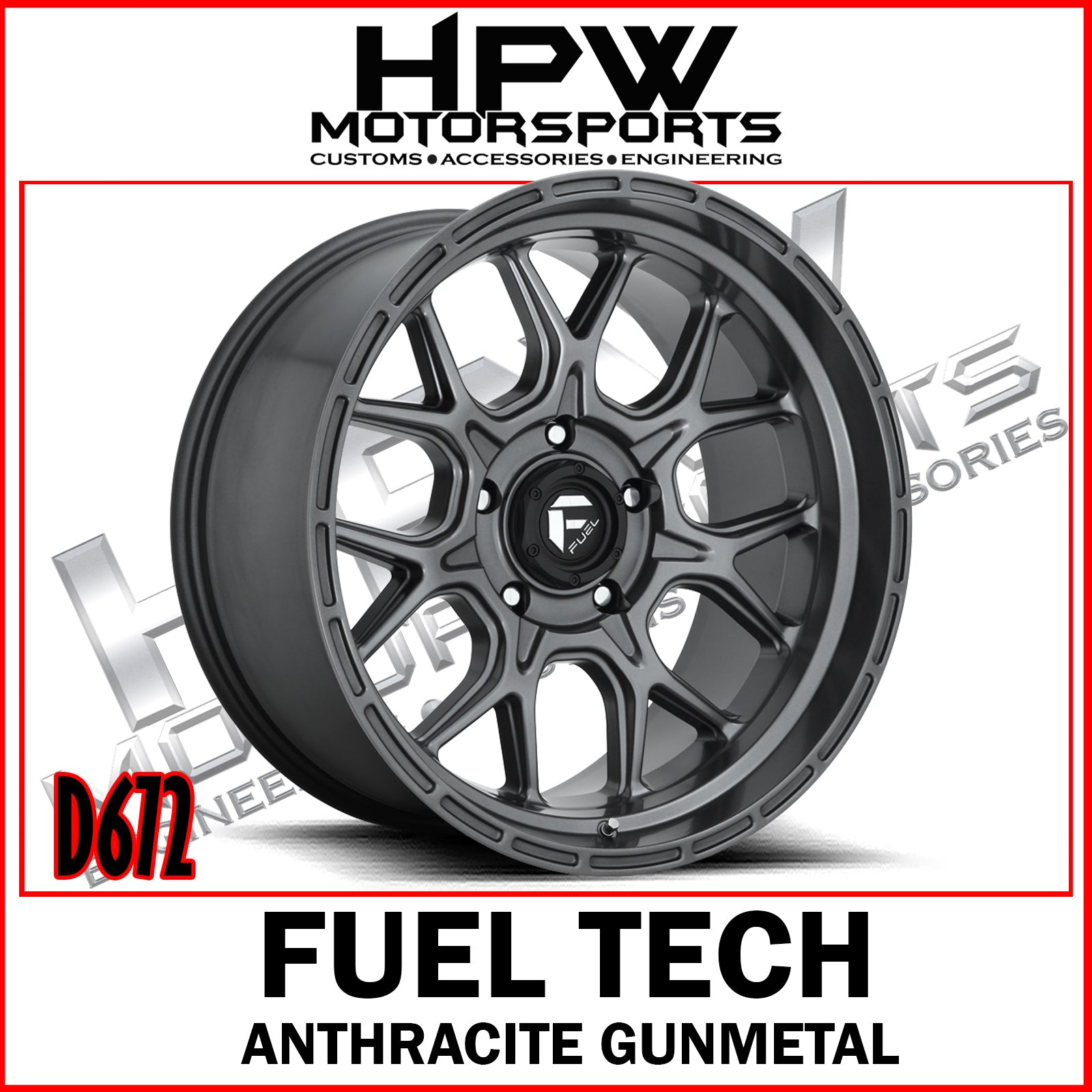 (20x10 -18) D672 FUEL TECH ANTHRACITE GUNMETAL - Set of 4