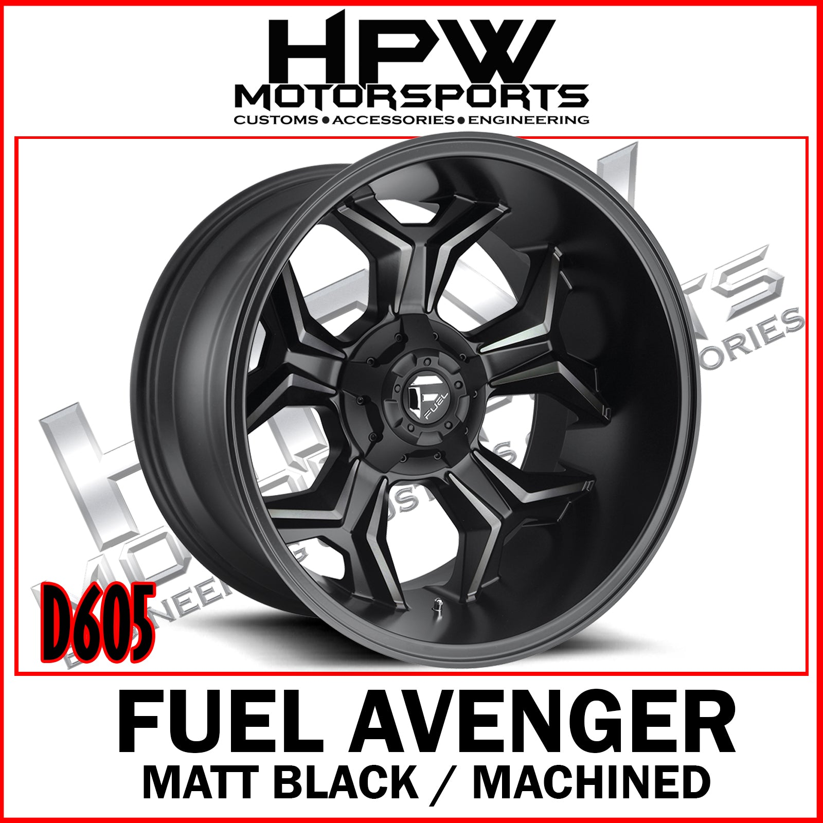 (20x12 -44) D605 FUEL AVENGER - MATT BLACK & MACHINED - Set of 4