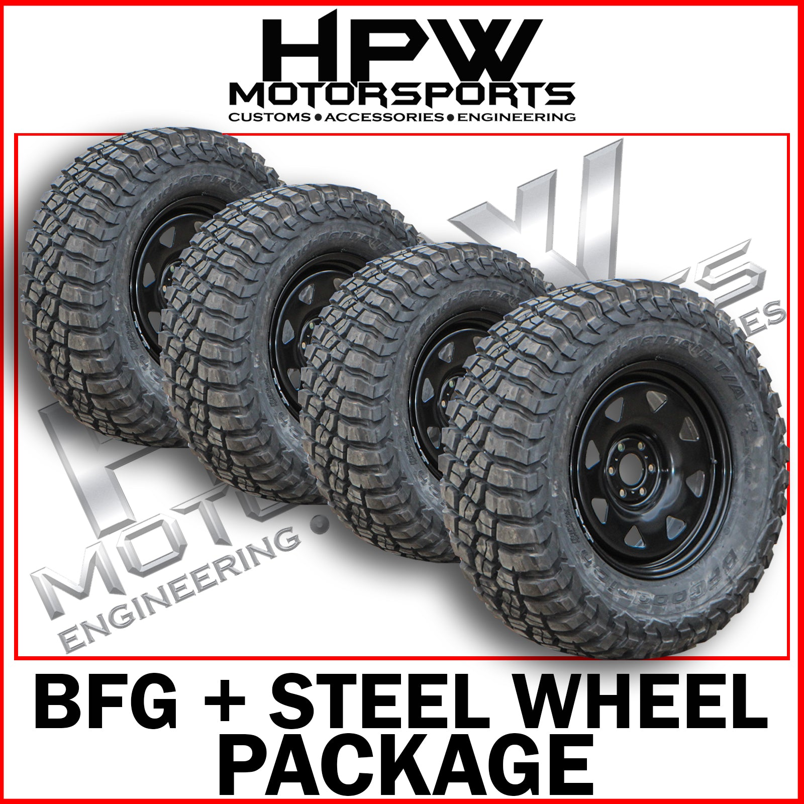 265/65/17 A/T BFGOODRICH TYRES & DYNAMIC STEEL WHEELS 17X8 (SET OF 4)