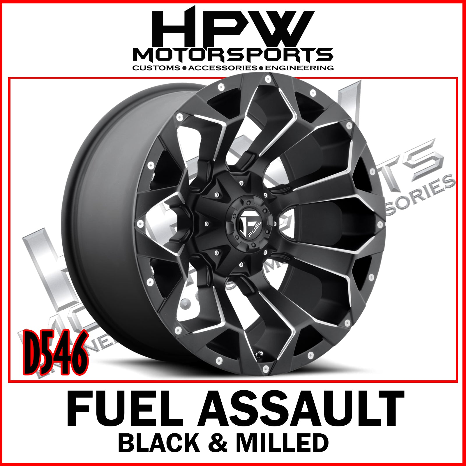 D546 FUEL ASSAULT BLACK & MILLED - Set of 4