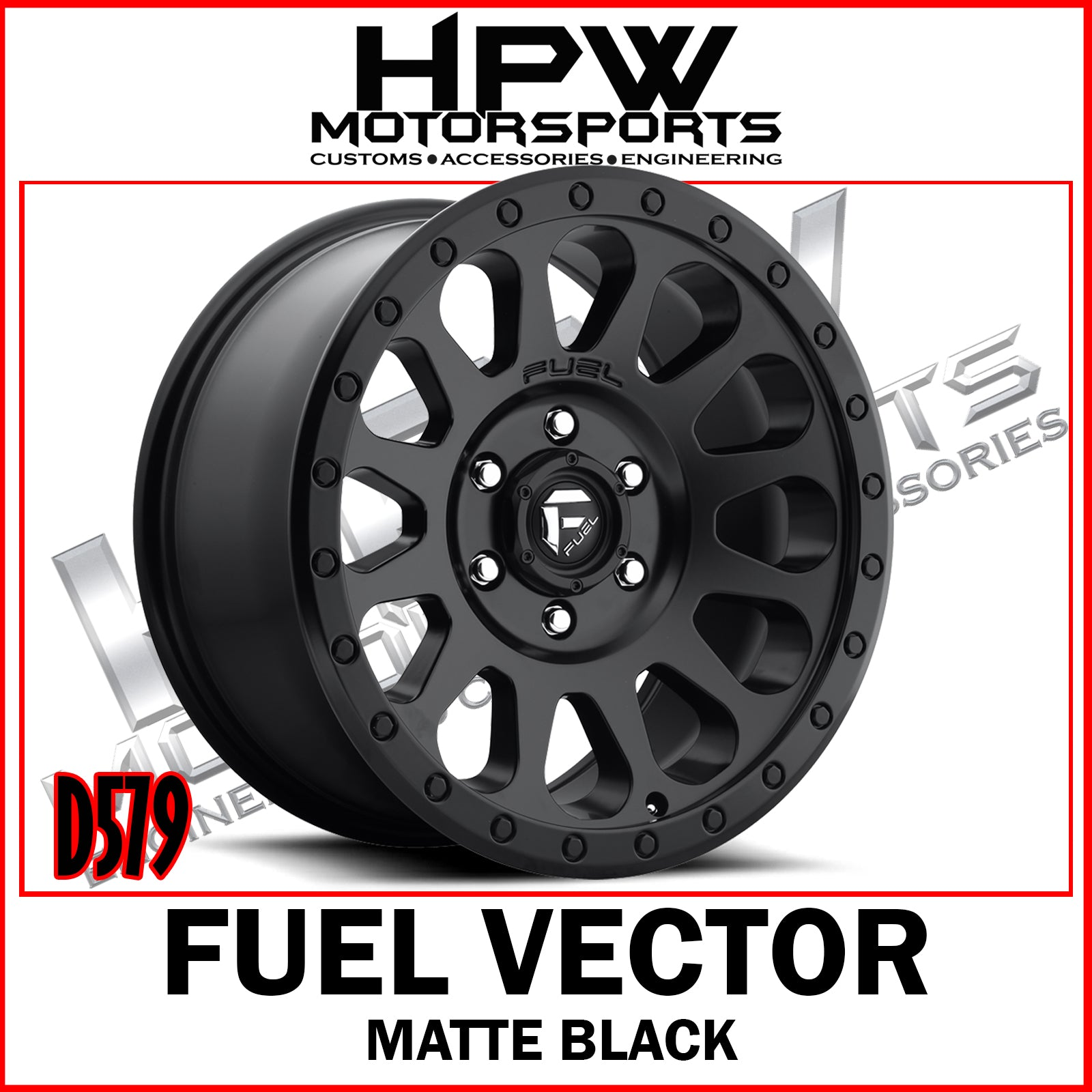 (20X10 -18) D579 FUEL VECTOR - MATTE BLACK - Set of 4