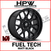 (20x10 -18) D670 FUEL TECH MATT BLACK - Set of 4