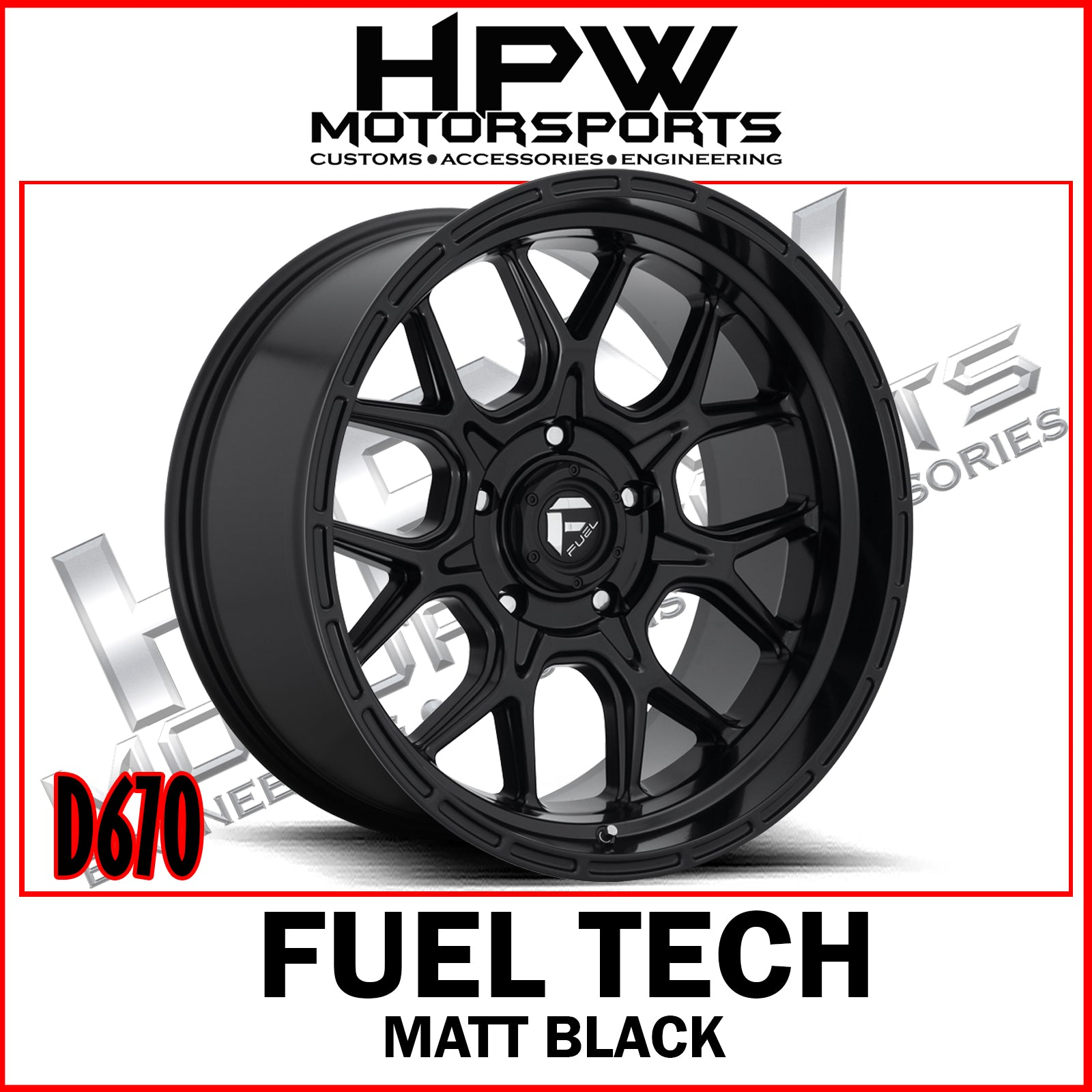 D670 FUEL TECH - MATT BLACK - Set of 4