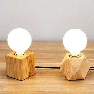 Wooden Table Lamp Retro Loft Desk Edison Bulb 110V/220V Night Light Office lamp Bedroom/Living Room/Cafe Lamp