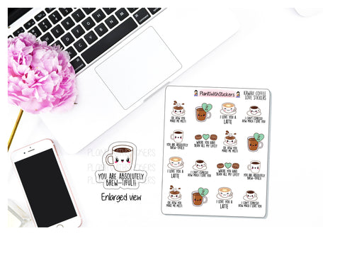 Coffee Love Kawaii Icon and Quote Stickers