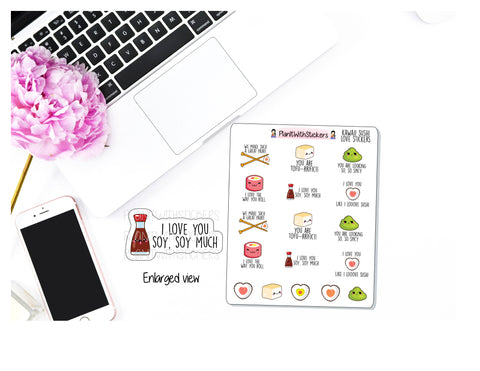 Sushi Love Kawaii Icon and Quote Stickers