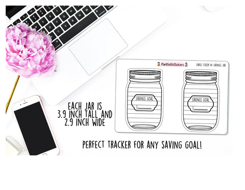Large Savings Jar (2 Jars) Color In Goal Tracker Sticker | For , Plum Paper, and Other Similar Planners